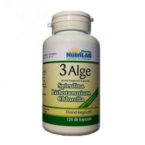 3 Alge - Spirulina, Chlorella és Vörös alga kapszula - 120db